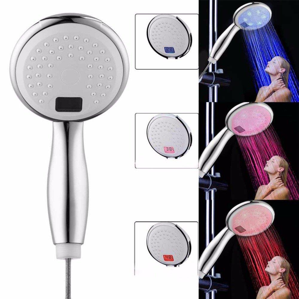 HTAIYN Badezimmer-Dusche führte Handbrause-Kopf-3 Farben geführte Duschkopf-Temperatur-Digitalanzeigen-Wasser Badezimmer liefert