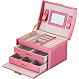 Goldwheat Jewelry Box Leather Earring Rings Organizer Mirrored Display Case Gift for Women Girls,Lock and Key (Pink)