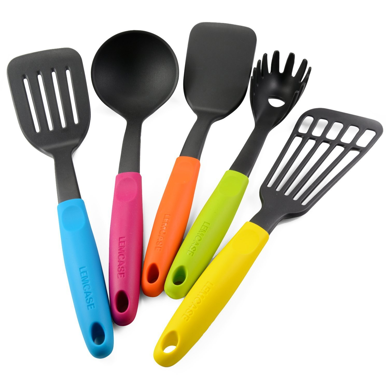 LEMCASE Utensilios De Cocina De Nylon/Utensilios De Cocina Set- 5 Piezas Ayudante de