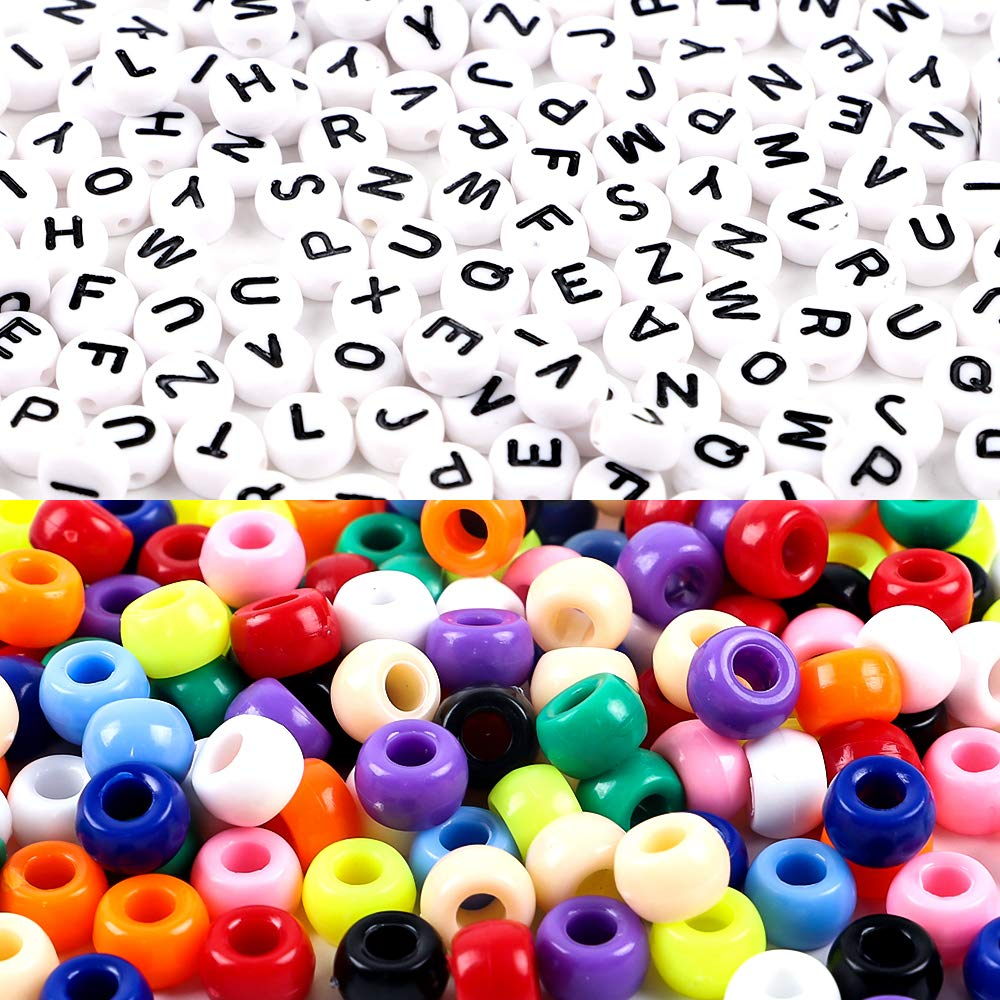 DICOBD 1000pcs Beads Kit, Letter Beads, Large Hole Beads Multi Color, White Acrylic Alphabet Beads for Name Bracelets, Jewelry Making and Crafts with 2 Elastic String Cords by DICOBD