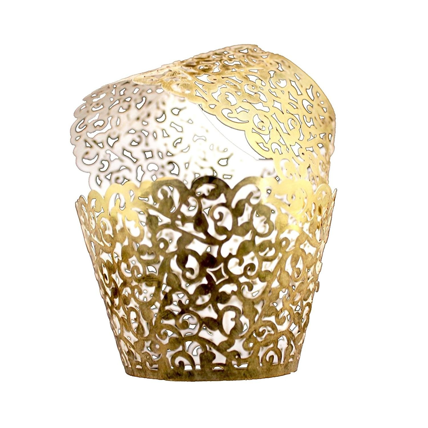 SODIAL Vine Cupcake Holders Filigree Vine Designed Decor Wrapper Wraps Cupcake Muffin Paper Holders - 50pcs (Bright Gold)