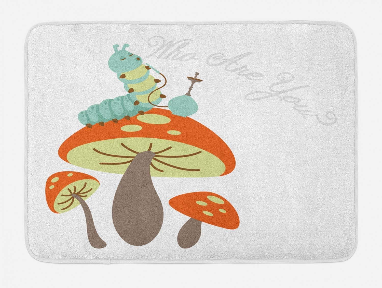 KLR6SYUI-T Alfombra de baño de Alicia en el país de Las Maravillas con Antideslizante (40 x 60 cm), Oruga cachimba sentada sobre un Hongo