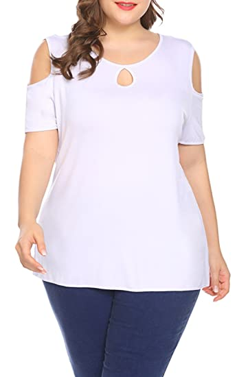 1653d006c9e17 Kancystore Womens Plus Size Keyhole Cold Shoulder Short Sleeve T Shirt  (XXL