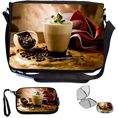 Rikki Knight Cappuccino with whipped cream Design COMBO Multifunction Messenger Laptop Bag - with padded insert for School or Work - includes Wristlet & Mirror