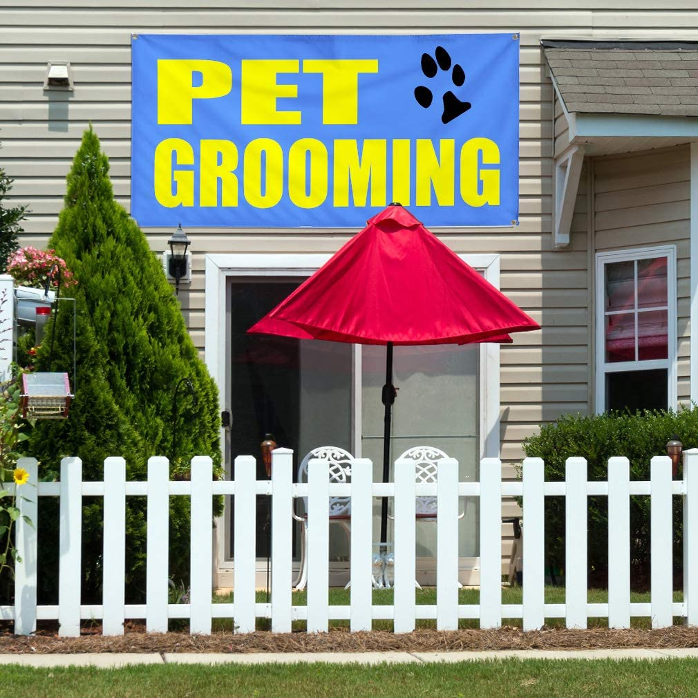 6 Grommets Set of 2 32inx80in Vinyl Banner Sign Pet Grooming Blue Yellow Business Outdoor Marketing Advertising Blue Multiple Sizes Available