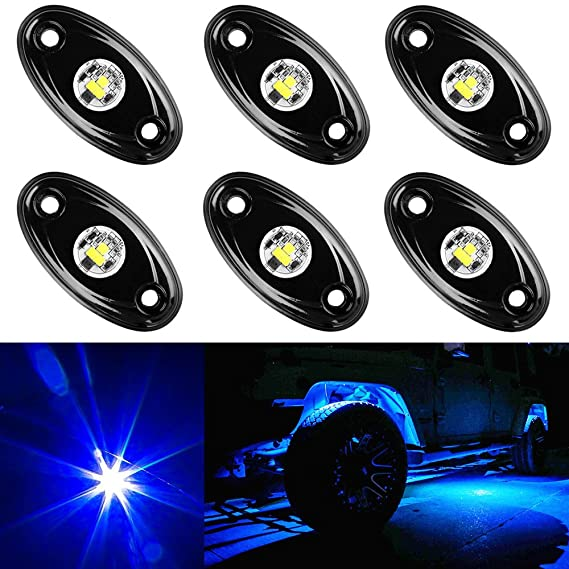 img buy Amak 6 Pods LED Rock Lights Kit Blue Underbody Glow Trail Rig Light Waterproof Underglow LED Neon Lights for JEEP Off Road Trucks Car ATV SUV Vehicle Boat - Blue