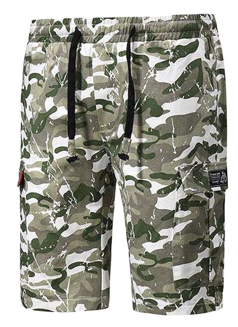 SHOWNO Mens Military Straight Leg Elastic Waist Ripstop Multi Pockets Beach Shorts Boardshort Swim Trunk