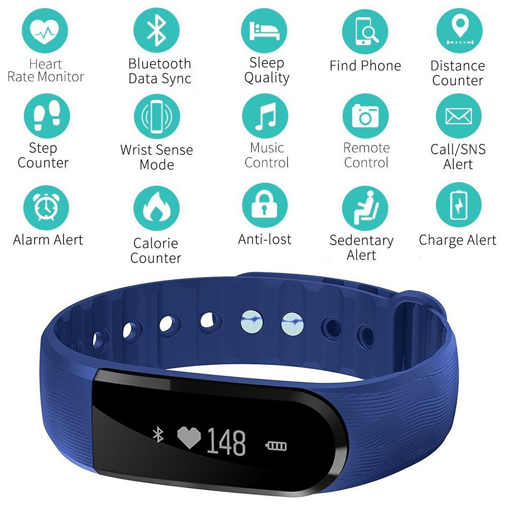 Heart Rate Monitor COOLEAD Fitness Activity Tracker Band with Health Sleep Monitor Pedometer Calorie Counter //Step Counter//Camera remote//Music control