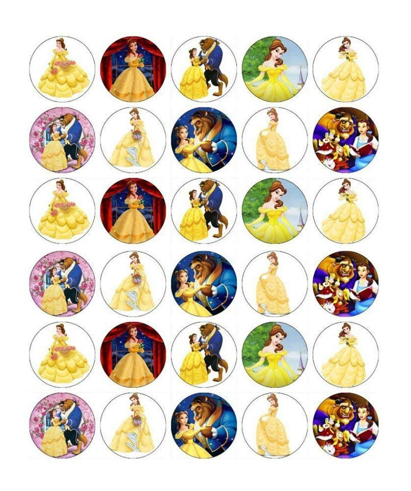 30 x Edible Cupcake Toppers - Beauty and The Beast Belle Themed Collection of Edible Cake Decorations for Girls| Uncut Edible Prints on Wafer Sheet