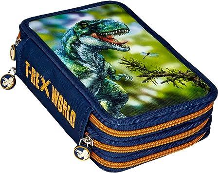 Spiegelburg 14536 Material Escolar Estuche Triple 3 Pisos con Cremallera Color Azul Dinosaurios T-Rex World: Amazon.es: Juguetes y juegos