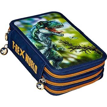 Spiegelburg 14536 Material Escolar Estuche Triple 3 Pisos con Cremallera Color Azul Dinosaurios T-Rex World