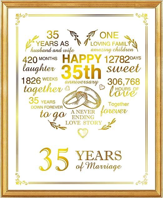 Amazon Com 35th Anniversary Real Gold Print 35 Years Wedding