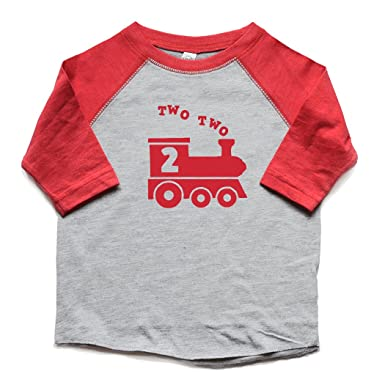 09a9c7ea6be5e Amazon.com: Two Two Train 2nd Birthday Shirt Boy Second Bday Toddler Raglan  Trendy 2 Heads Up Shirts: Clothing