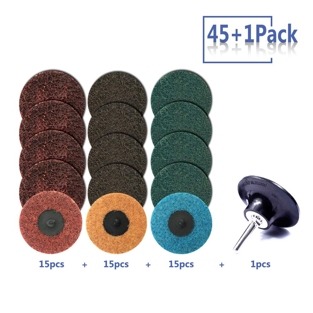 3 inch Roloc Quick Change Discs Set, 45Pcs Nylon Sanding Discs with 1/4'' Holder, Surface Conditioning Discs for Die Grinder Surface Prep Strip Grind Polish Finish Burr Rust Paint Removal by Miroku