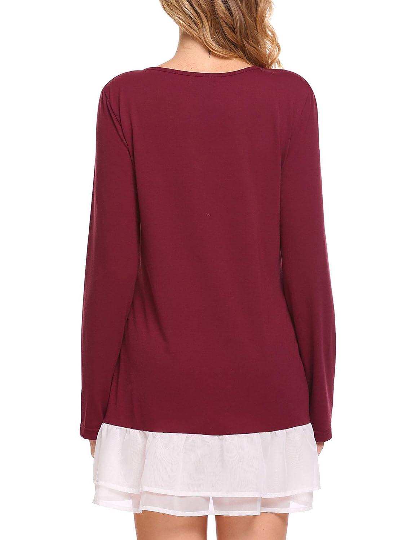 Mofavor Women Ruffle Hem Long Sleeve O Neck Tunic Tops Casual Loose Blouse Shirts