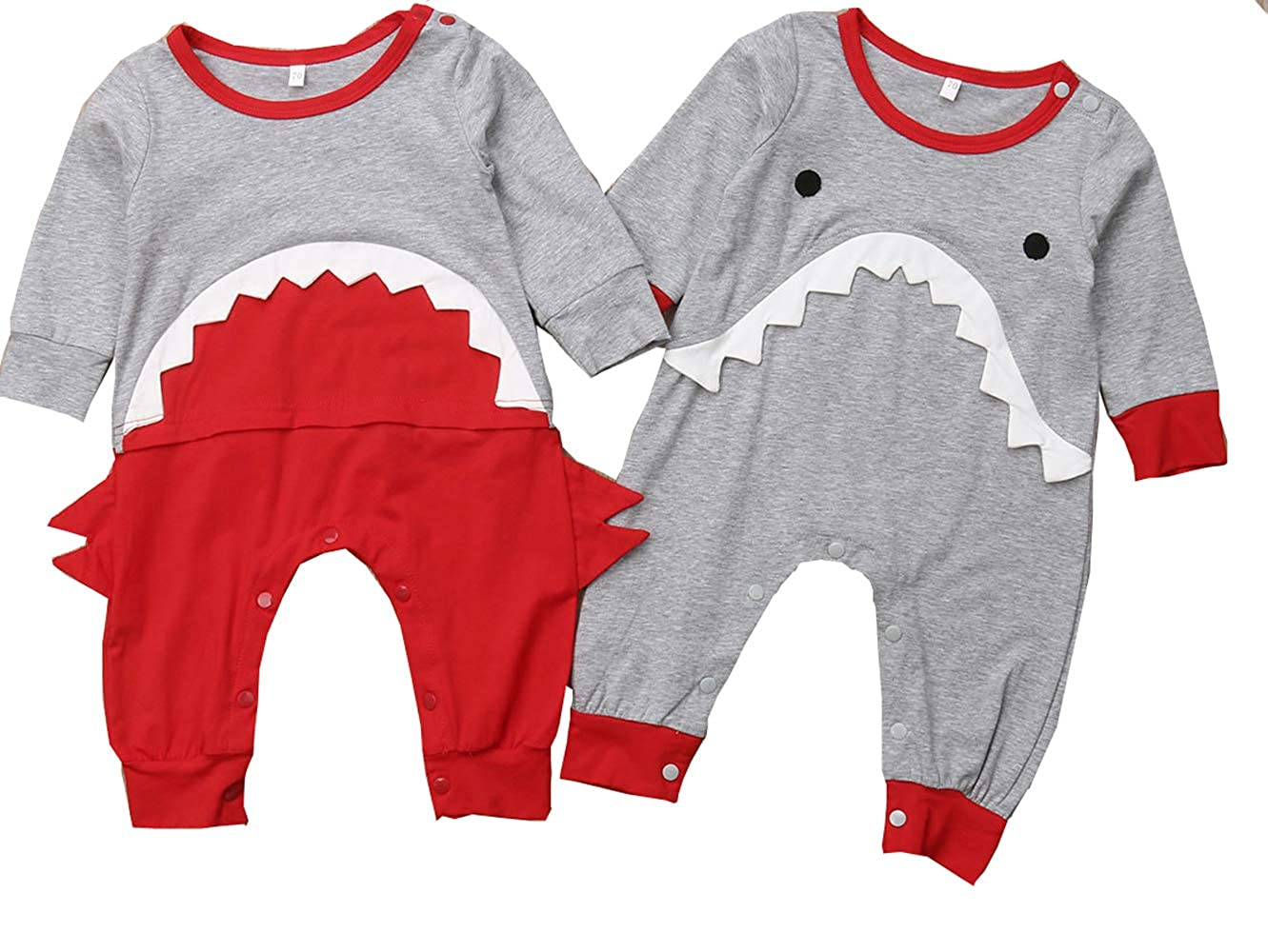 Amazon.com: Infant Baby Boys Cartoon Shark Bodysuit Romper Jumpsuit Outfits Clothes: Clothing