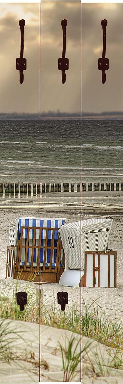 Artland Qualitätsmöbel I Garderobe Wandpaneele mit Motiv 45 x 140 cm Landschaften Strand Foto Creme F1YM Einsamer Strand Schwarzer Busch Insel Poel