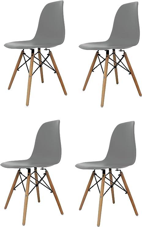 sillas simil y patas madera para salón
