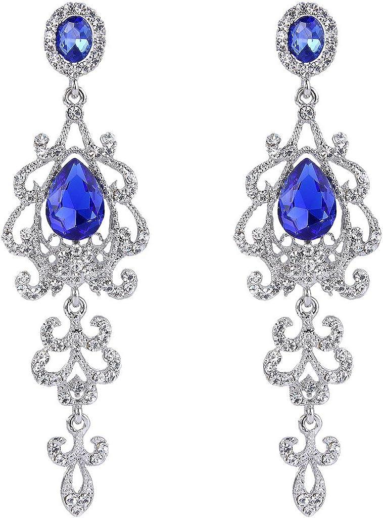 Clearine Mujeres Vintage Nupcial Cristal Elegante Lágrima Candelabro Colgar Pendientes