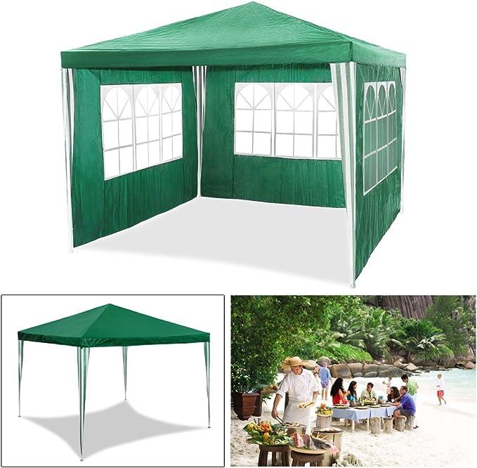 Carpa de jardín para fiestas impermeable de 3 x 3 m de HG®, carpa para eventos, camping o asociaciones de alta calidad con tubos de acero, verde: Amazon.es: Jardín