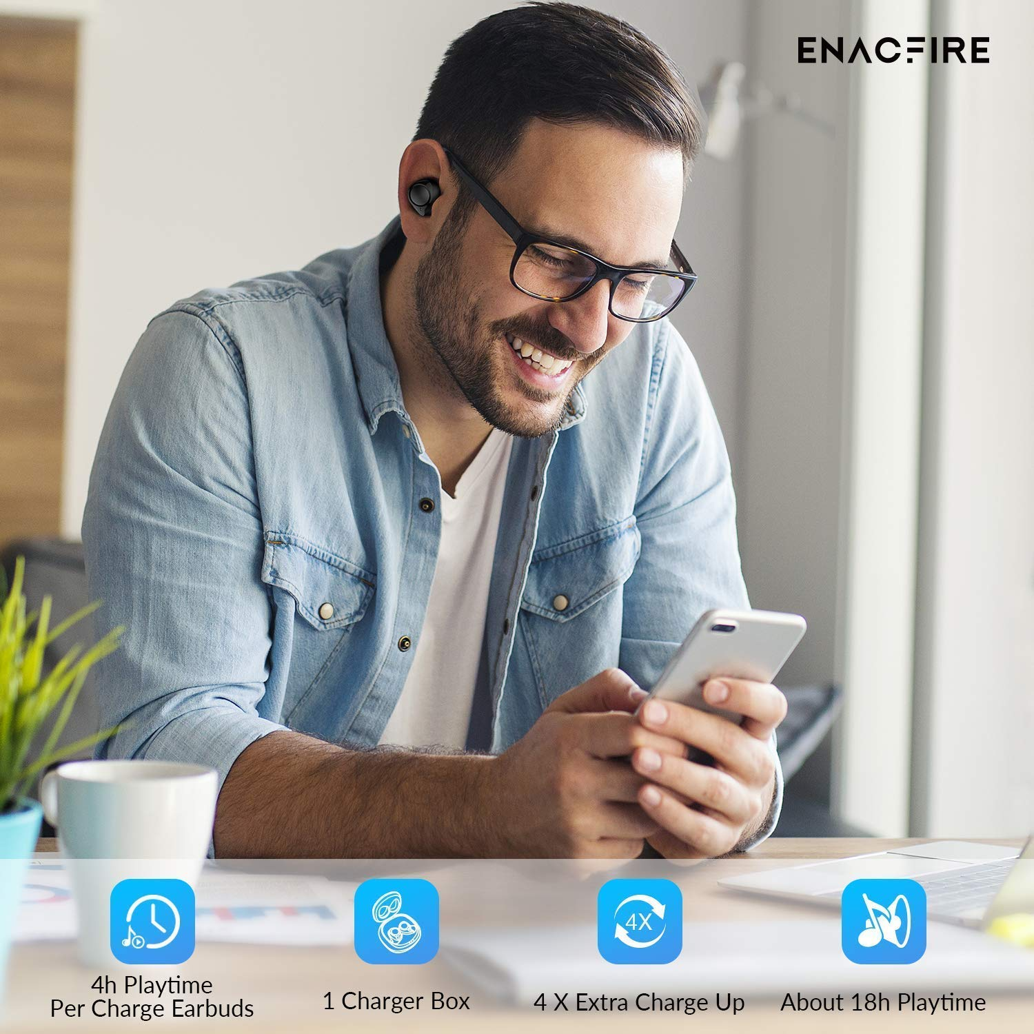 Bluetooth 50 Wireless Earbuds ENACFIRE Future Wireless Bluetooth Headphones with 18H Playtime Deep
