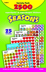 Trend Enterprises Seasons superSpots & superShapes Stickers Variety, Pack of 2500