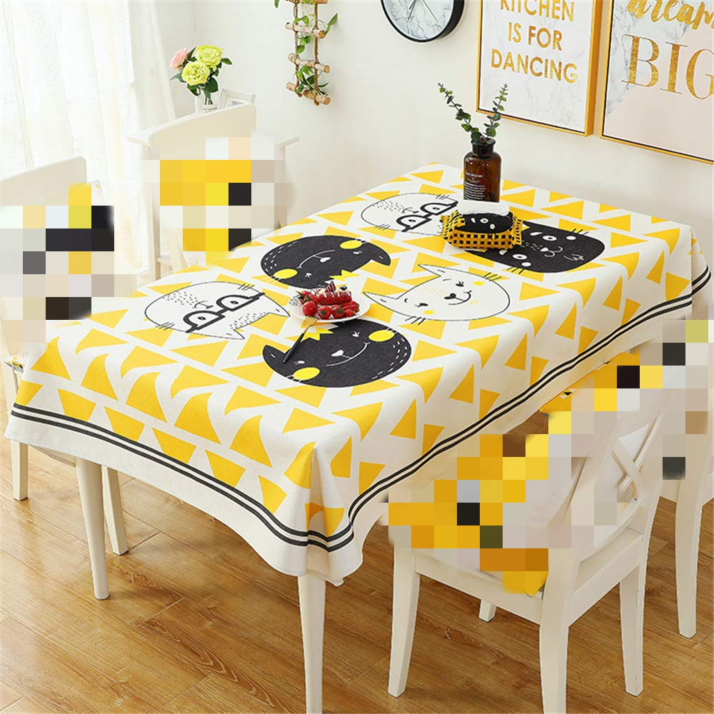 Cotton and Linen Tablecloth Waterproof Cartoon Tablecloth Coffee Table placemat by ZHIZHEN