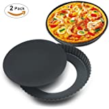 Homga 2 Pack Non-Stick 8.8 Inches Removable Loose Bottom Quiche Tart Pan, Tart Pie Pan, Round Tart Quiche Pan with Removable Base