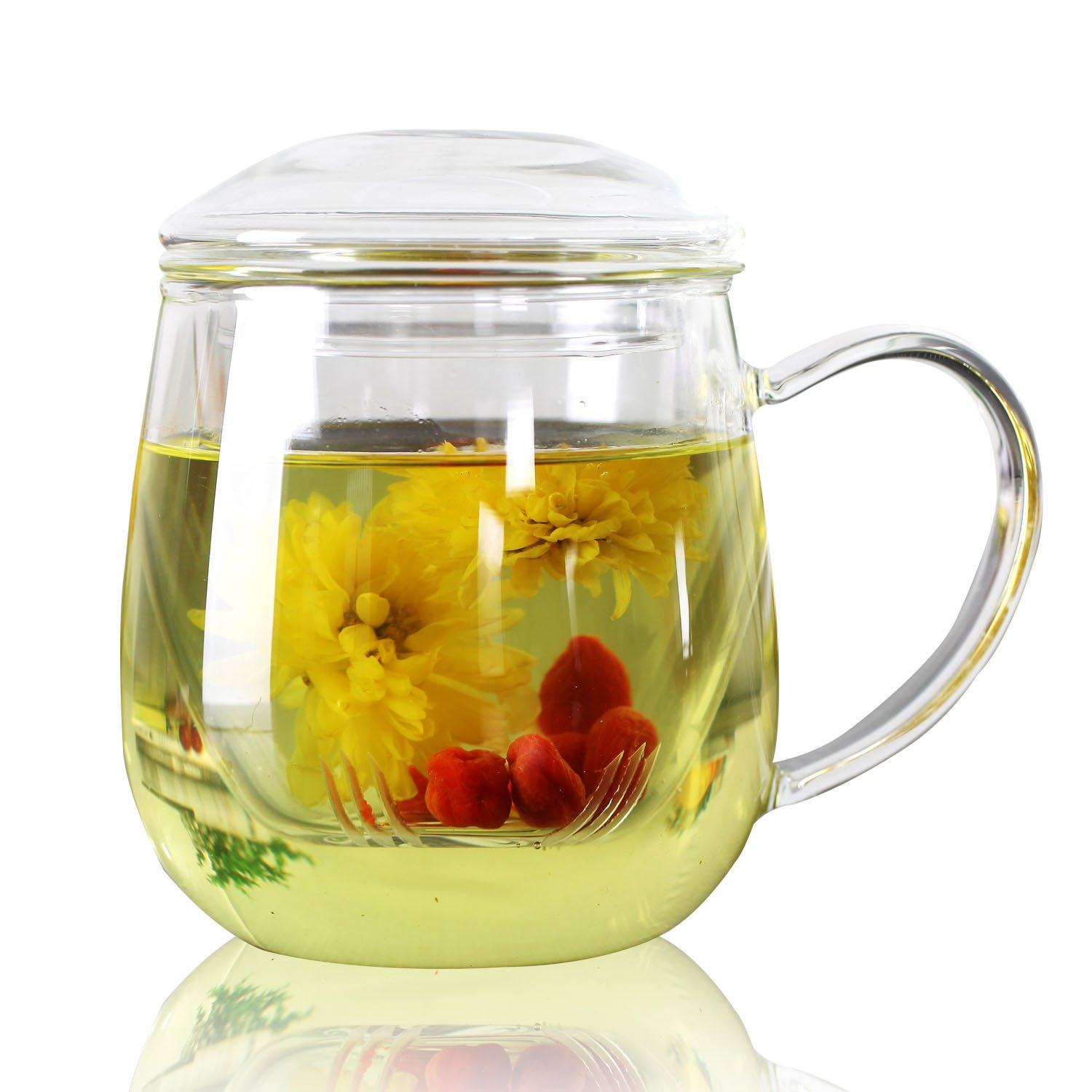 Cupwind 20 oz Thickened Heat-Resistant Borosilicate Glass Teapot Office Tea Tile Filtration Cup Tea-For-One Set with Lid Stovetop Safe