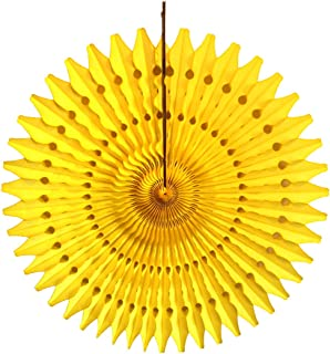 product image for 3-Pack 21 Inch Tissue Paper Fan (Yellow)