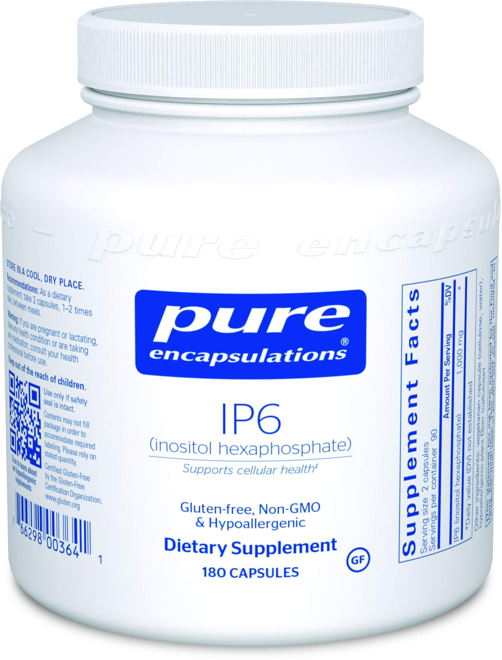 Pure Encapsulations - IP6 (Inositol Hexaphosphate) - Hypoallergenic Antioxidant Support for Prostate, Breast, Colon and Liver Cell Health* - 180 Capsules