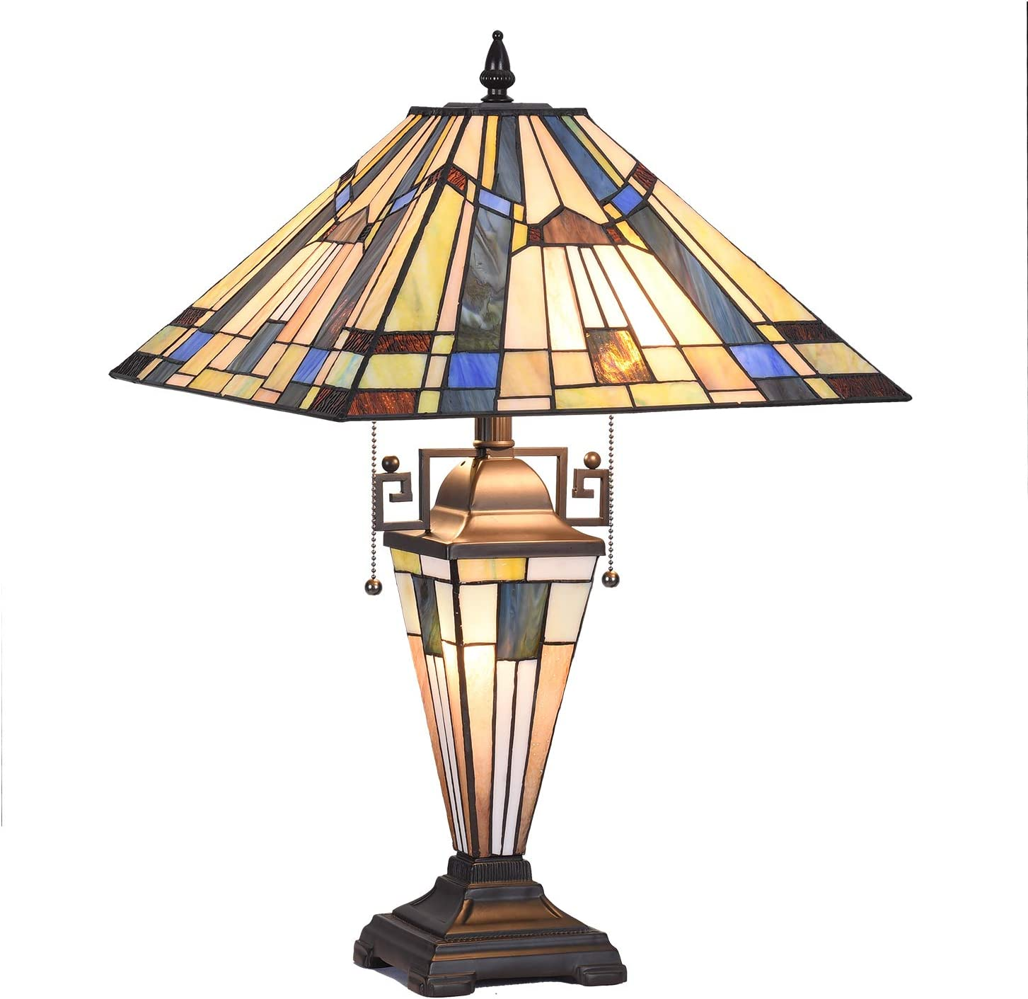 """Tiffany Glass Lamp, Capulina Handcrafted 15.9"""" Mission Stained Glass Lamps Shades, Timeless Art Stunning Tiffany Desk Lamp, Enhance Home, Office, Desk, Entry, Living Room - Gothic Glass Styles"""