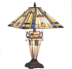 "Tiffany Glass Lamp, Capulina Handcrafted 15.9"" Mission Stained Glass Lamps Shades, Timeless Art Stunning Tiffany Desk Lamp, Enhance Home, Office, Desk, Entry, Living Room - Gothic Glass Styles"