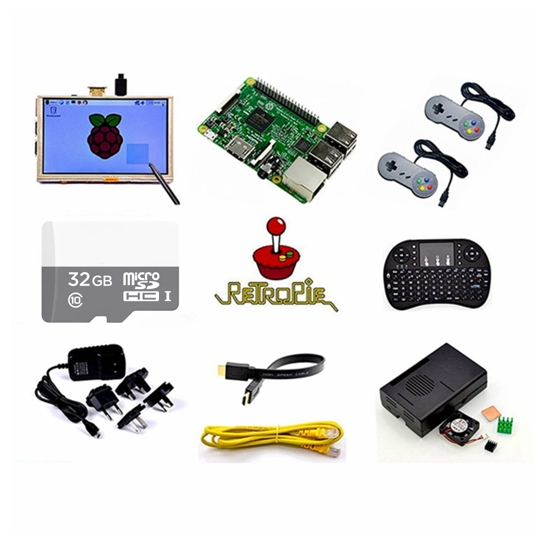 Raspberry Pi Retro Gamepads Kit with 5 inch Monitor, Pre-Installed Emulators. For Nintendo NES, NEOGEO, MAME, GAMEBOY, SEGA, NINTENDO SUPER and so on.