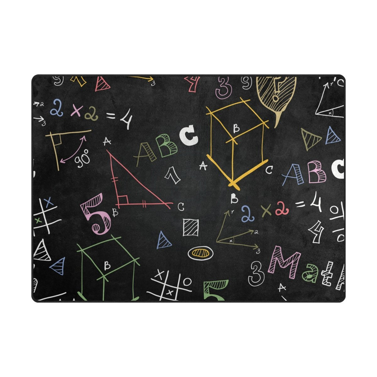 Vantaso Soft Foam Area Rugs Chalkboard School Math Formulas Non Slip Play Mats 63x48 inch for Kids Playing Living Room