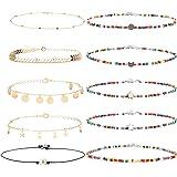 Thunaraz 10Pcs Seed Bead Choker Necklace for Women Gold Chain Star Choker Necklace Boho Rainbow Choker Necklace Single Pearl