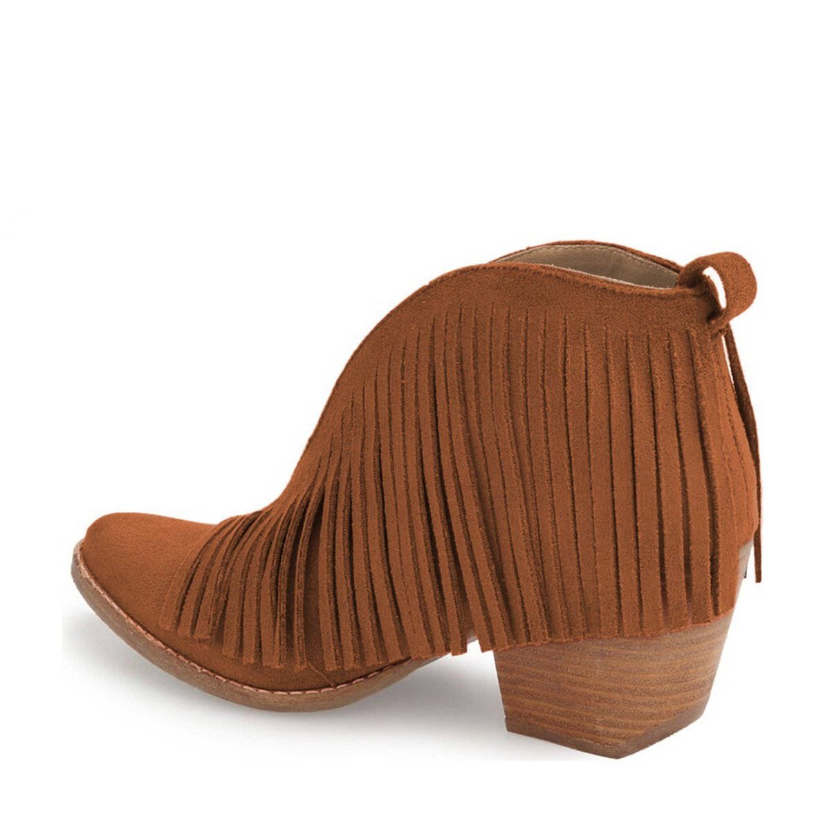 YDN Western Ankle High Boots with Tassels Round Toe Block B01KC2A2EY Heel Suede Retro Booties B01KC2A2EY Block 6 B(M) US|Brown 15c3b3