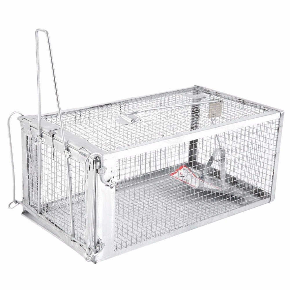 Animal Trap Cage,AutumnFall Clearance!!❤️❤️1PC Stainless Steel Rodent Animal Mouse Humane Live Trap Hamster Cage Mice Rat Control Catch Bait Durable 2018 (Silver)