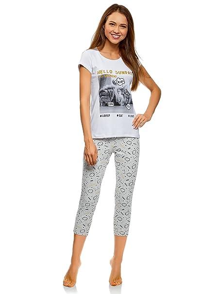 oodji Ultra Mujer Pijama de Algodón con Pantalones Piratas Estampados, Blanco, ES 38 /