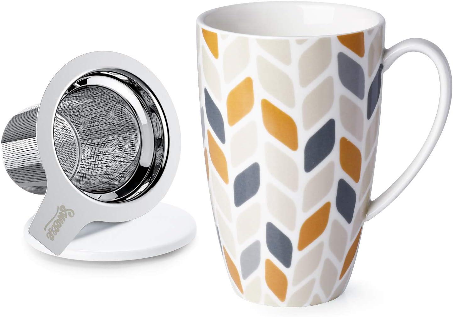 Taza de t/é con infusor 400 ml 400 ml taza de t/é con tapa e infusor de acero inoxidable para oficina y hogar Ballena Tail-400 porcelana acero inoxidable Sweese