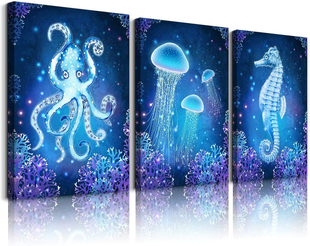blue Ocean Life Theme Canvas Prints Wall Art Paintings for Living Room Wall Artworks Sea Animal sea horse Octopus jellyfish Pictures Bedroom Decorations 3 Panels Home bathroom Wall decor posters