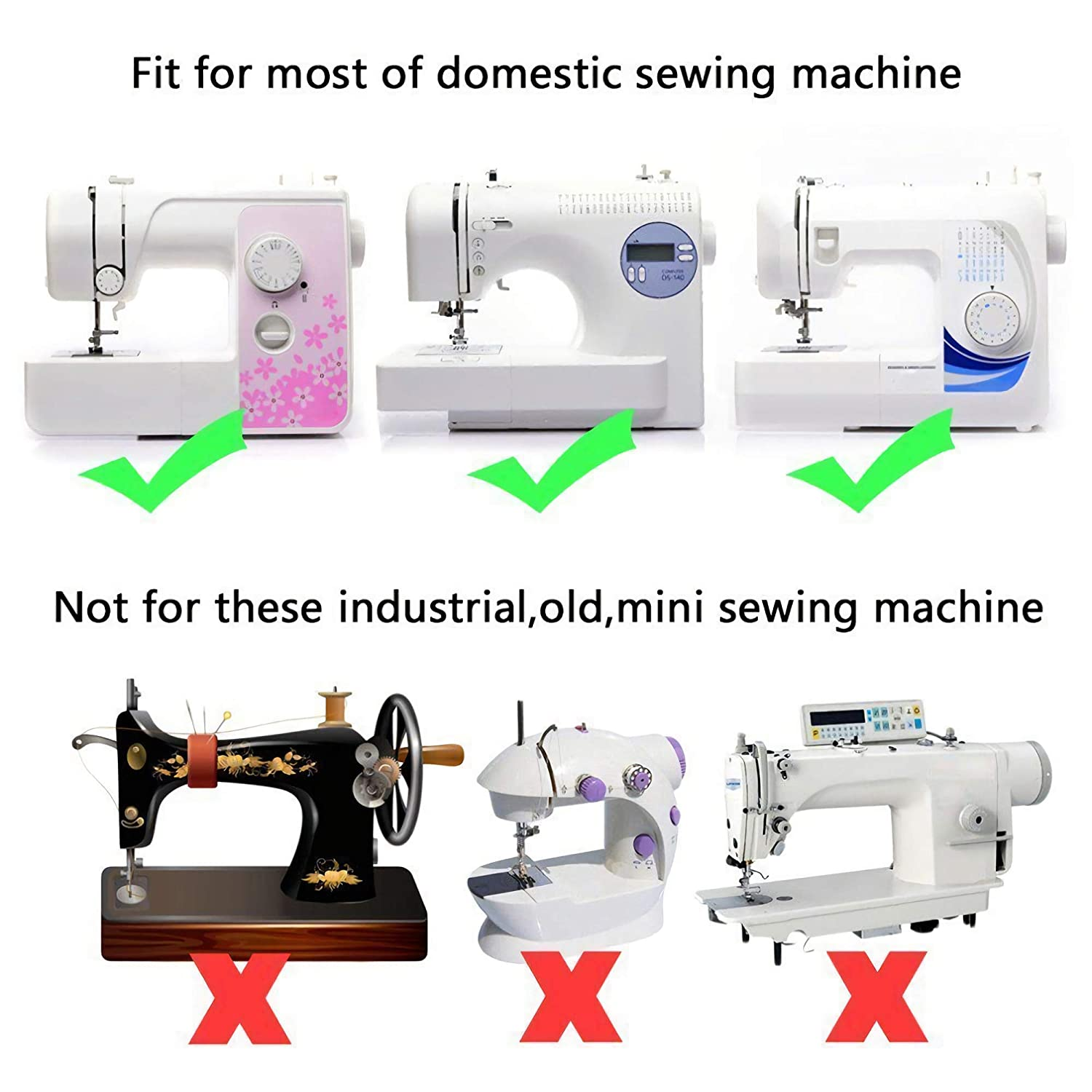 Brother Babylock,Elna,Toyota,New Home,Simplicity and Low Shank Sewing Machines Large Metal Darning feet Janome,Kenmore Professional Domestic Sewing Foot Presser Foot Presser Feet Set for Singer