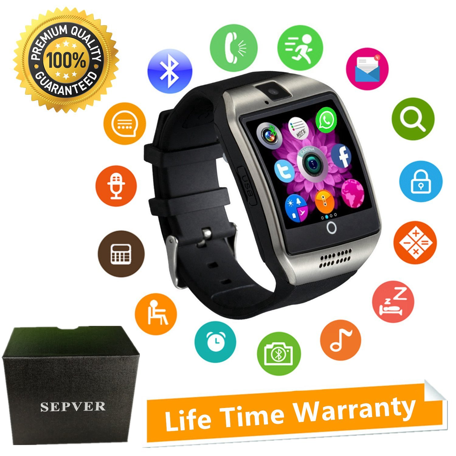 Smart Watches SEPVER SN06 Smartwatch Sport Fitness tracker Wrist Watch with SIM Card Slot Camera Touch screen Pedometer Compatible Android Smart Phone ...