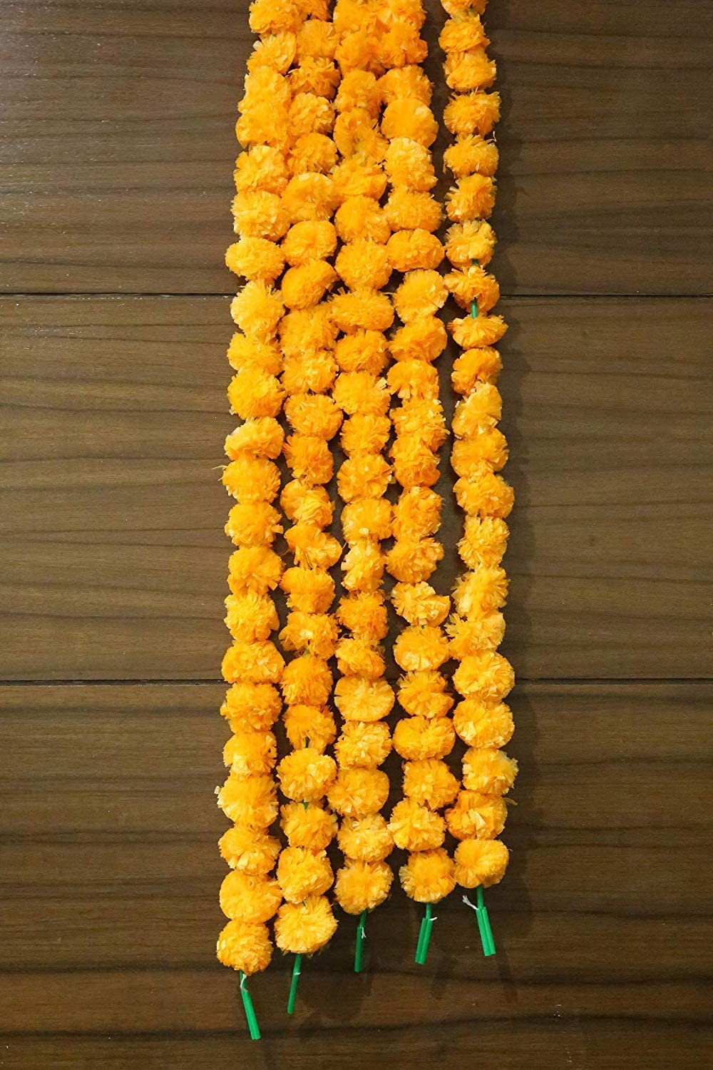 Pack of 5 Artificial Yellow Marigold Flower Garlands 5 ft Long- for use in Parties, Celebrations, Indian Weddings, Indian Themed Event, Decorations, House Warming, Photo Prop,Diwali,Ganesha Fest