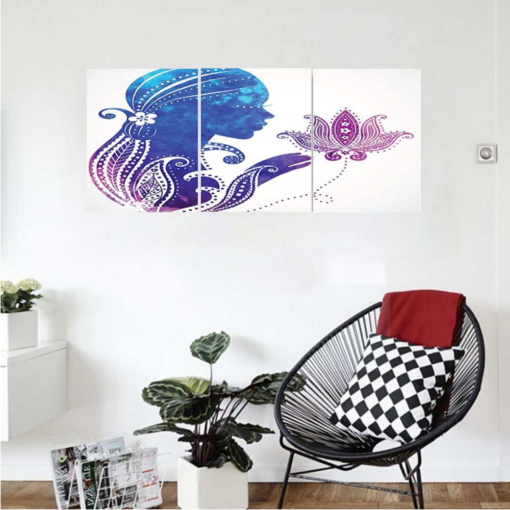 Liguo88 Custom canvas Teen Girls Decor Wall Hanging Girls Silhouette with Flowers on Her Hair Floral Ornaments Meditation Spa Artwork Bedroom Living Room Decor Purple Blue