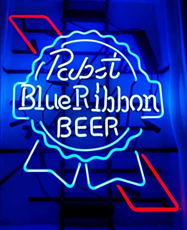 Pabst Blue Ribbon Beer Neon Signs Pub Display Neon Light Signs Real Glass  Tube Bar Pub Game Room Decoration Handicrafted BeerSuper Bright 19x15 THE