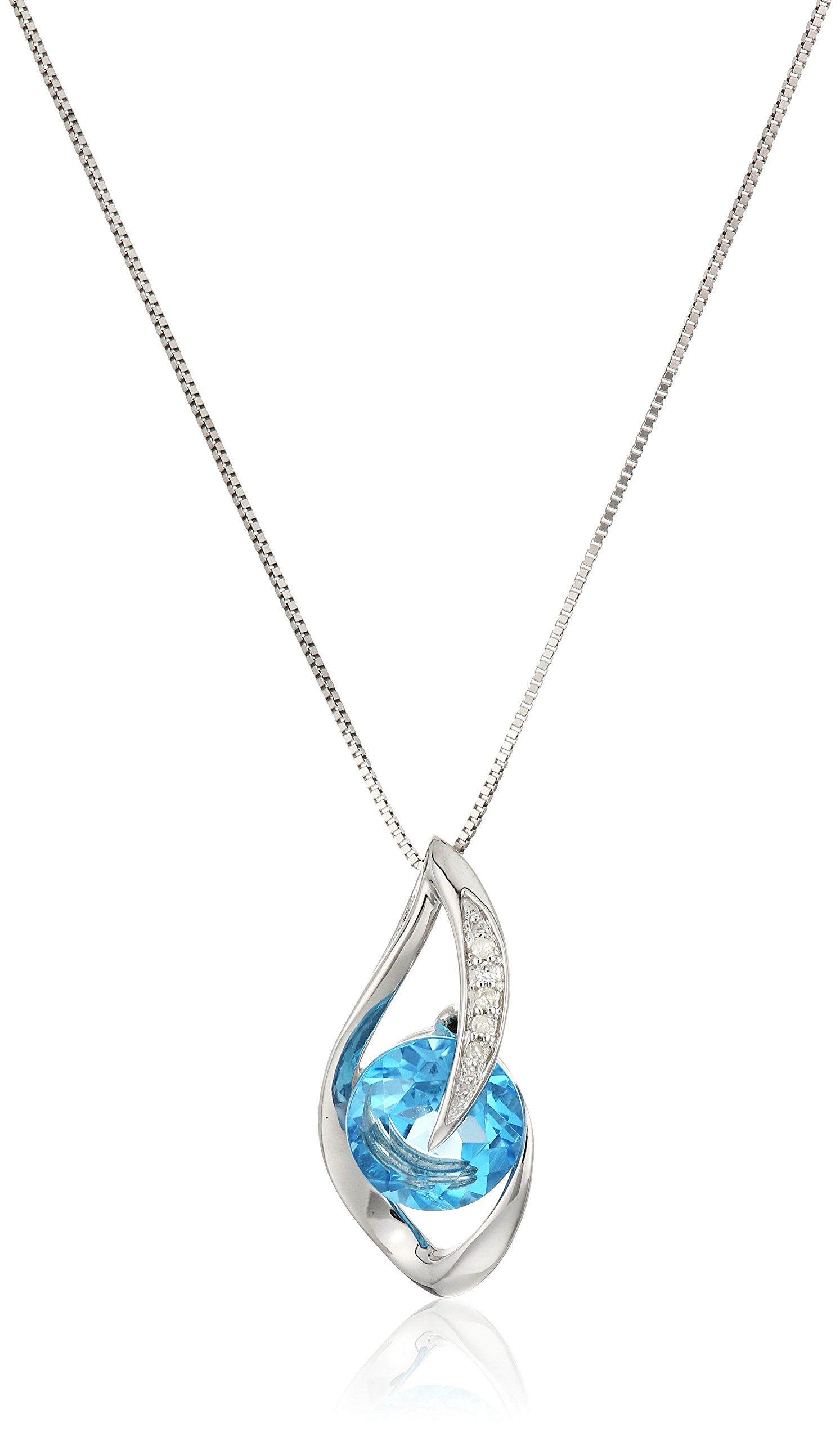 10k White Gold Swiss-Blue-Topaz and Diamond Accent Flame Pendant Necklace, 18''