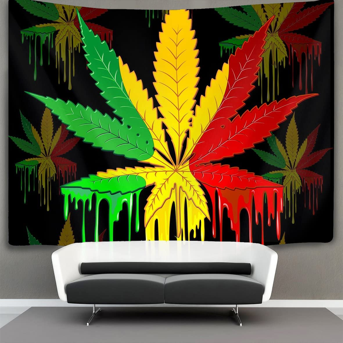 NiYoung Rasta Marijuana Leaf Weed Cannabis Wall Tapestry Hippie Art Tapestry Wall Hanging Home Decor Extra Large tablecloths 60×90 inches for Bedroom Living Room Dorm Room