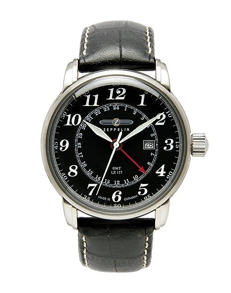 Zeppelin 76422 - Reloj de caballero de cuarzo, correa de piel color negro: Amazon.es: Relojes