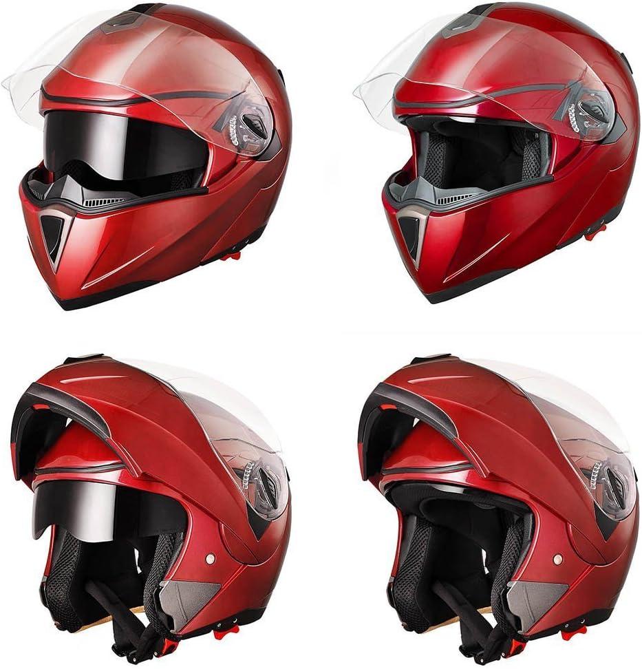 Full Face Racing Motorcycle Helmet for Adult Men Women Motorbike Helmet Black Flip up Front Sun Visor for Motorcycle Bike Motorcycle Moped Scooter Helmet